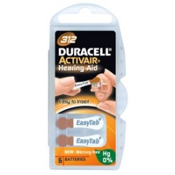 Activair 312 Piles auditives Duracell  (étiquette marron) - 1 plaquette